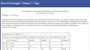 Seewetter Ostsee 3 Tage (Quelle DWD)