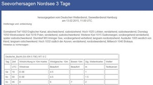 Seewetter Nordsee 3 Tage (Quelle DWD)
