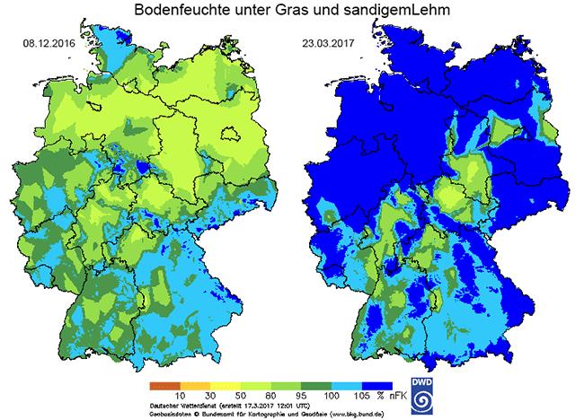 Bodenfeuchte am 08. Dezember 2016 und am 23. Februar 2017 (Quelle Deutscher Wetterdienst 2017)