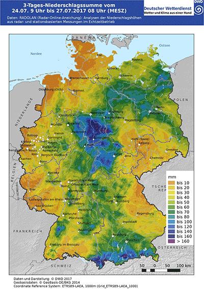 72-stündigen Niederschlagshöhen bis zum 27.07.2017, 07.50 Uhr (Quelle Deutscher Wetterdienst 2017)
