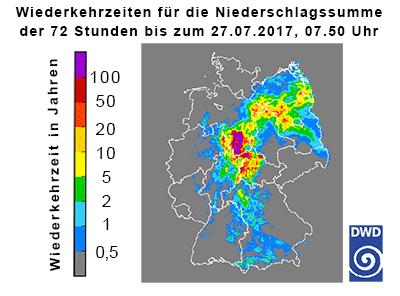 Wiederkehrzeiten der 72-stündigen Niederschlagshöhen bis zum 27.07.2017, 07.50 Uhr (Quelle Deutscher Wetterdienst 2017)