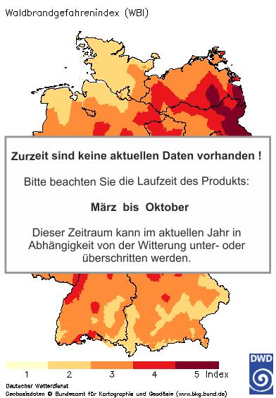 Deutschlandkarte mit dem Tageswert des Waldbrandgefahrenindex WBI, heute