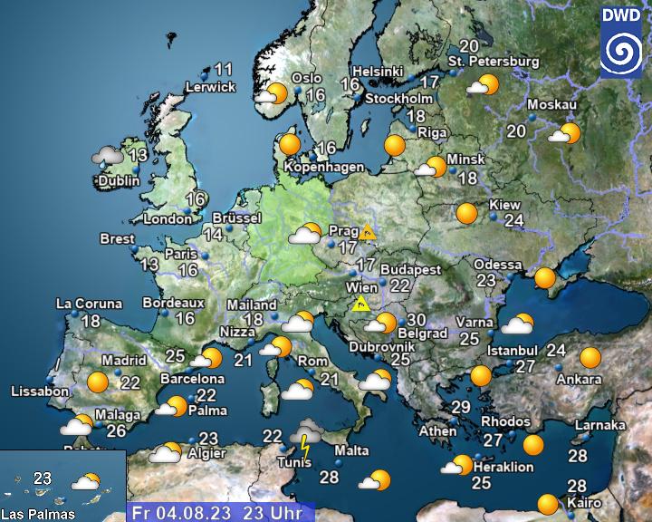Aktuelles Wetter in Europa