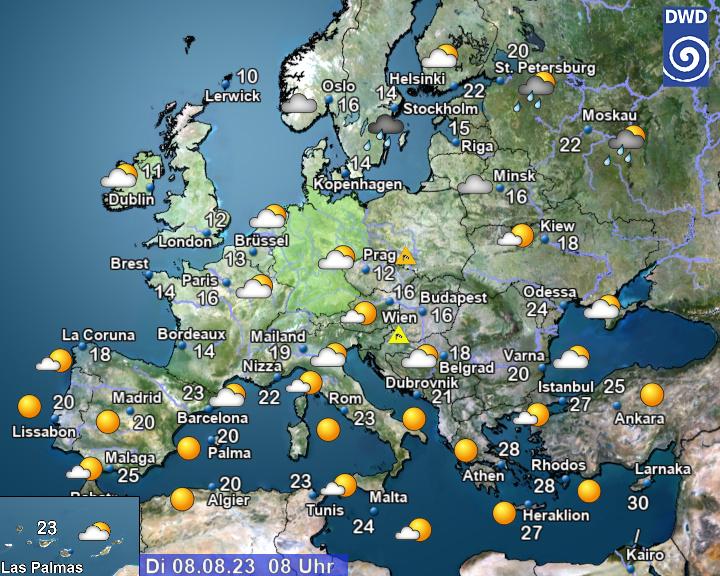 Het actuele weer in Europa