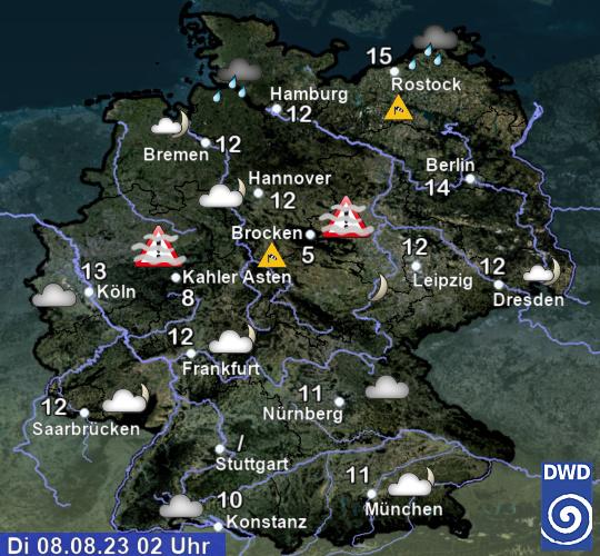 Wettervorhersage Deutschland - heute