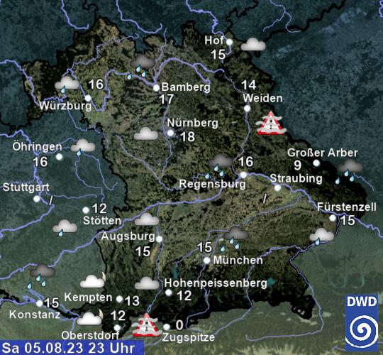Aktuelle Wetterlage in Bayern; zur detaillierten Ansicht bitte hier klicken; Externer Link zum Deutschen Wetterdienst