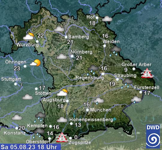 Temperaturkarte Bayern