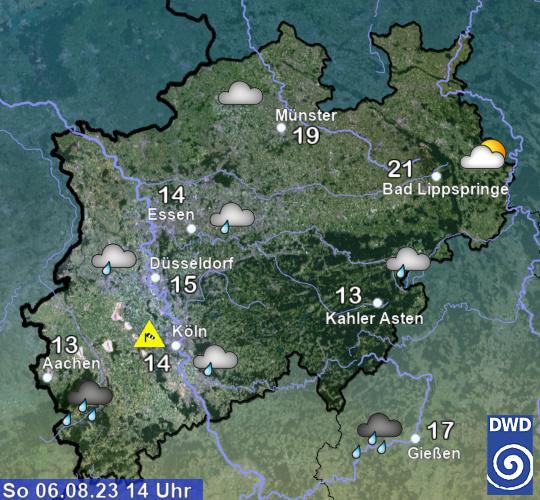 Wetterkarte des Deutschen Wetterdienstes für Nordrhein Westfalen