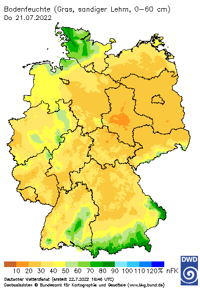 Deutschlandkarte Bodenfeuchte