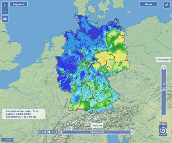 Aktuelles Agrarwetter: Bodenfeuchteviewer - Bodenfeuchte bei Starkregenphasen, Trockenheit und Dürre
