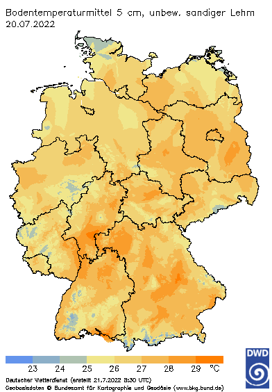 Übersichtskarte Bodentemperatur