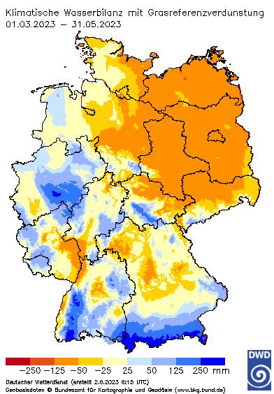 Aktuelles Agrarwetter: Klimatische Wasserbilanz