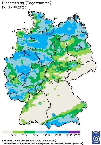 Aktuelles Agrarwetter: Niederschlagsverteilung - Summe des 24-stündigen Niederschlags
