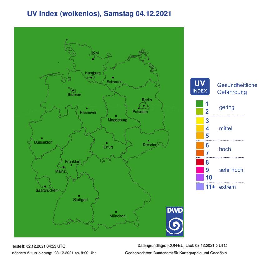 UV-Gefahrenindex (wolkenlos) für Deutschland