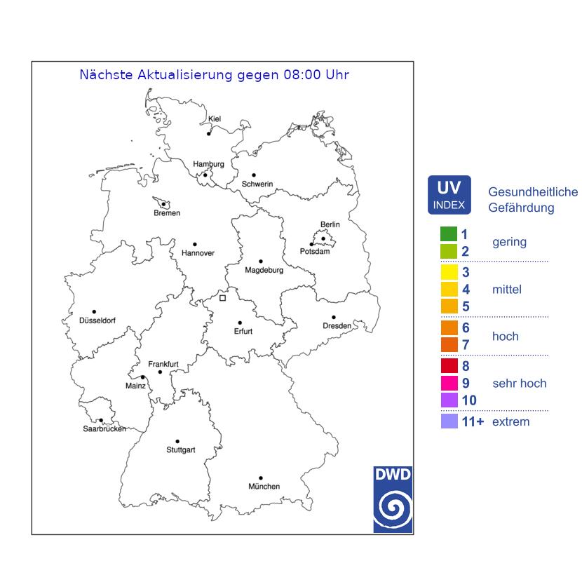 UV-Gefahrenindex für Deutschland