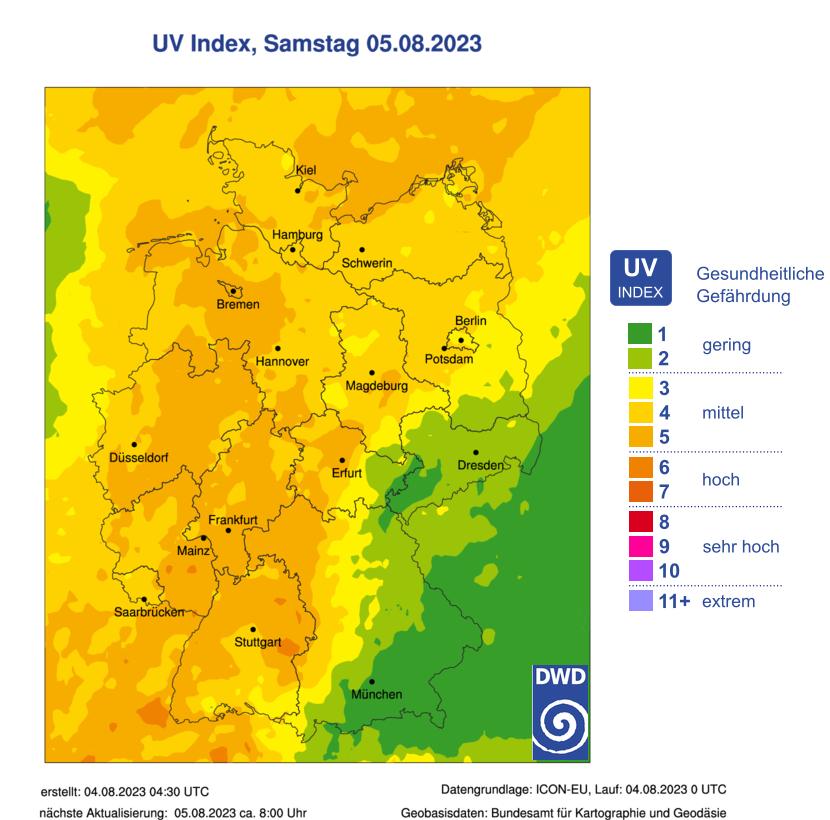 UV Index Deutschland, heute
