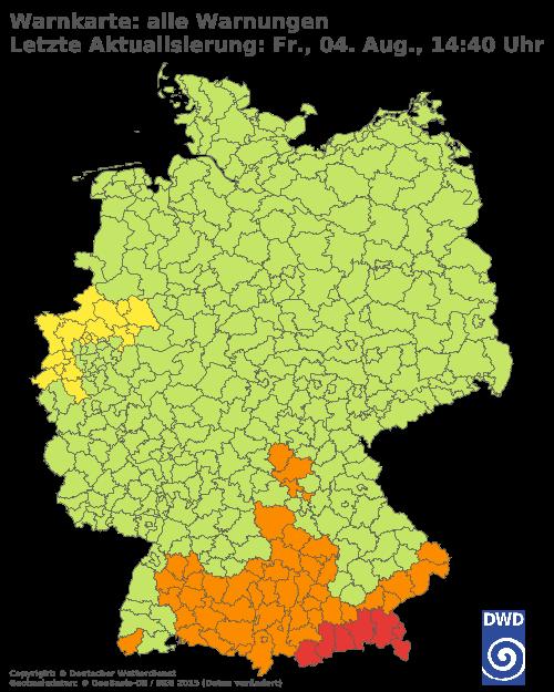 Wetter - Warnlage für Deutschland