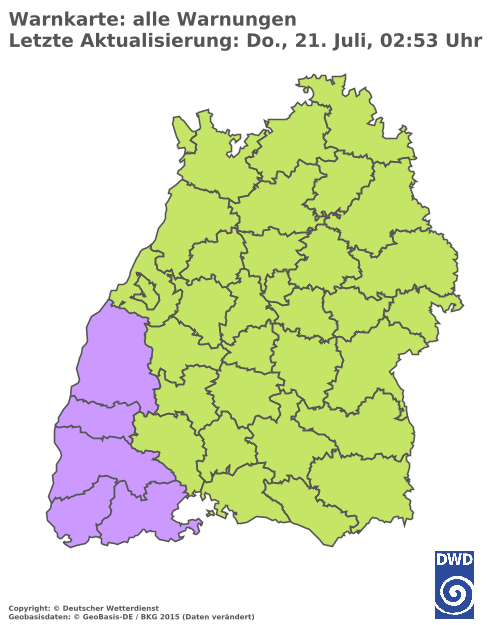 Karte der Wettergefahren in Baden-Württenberg