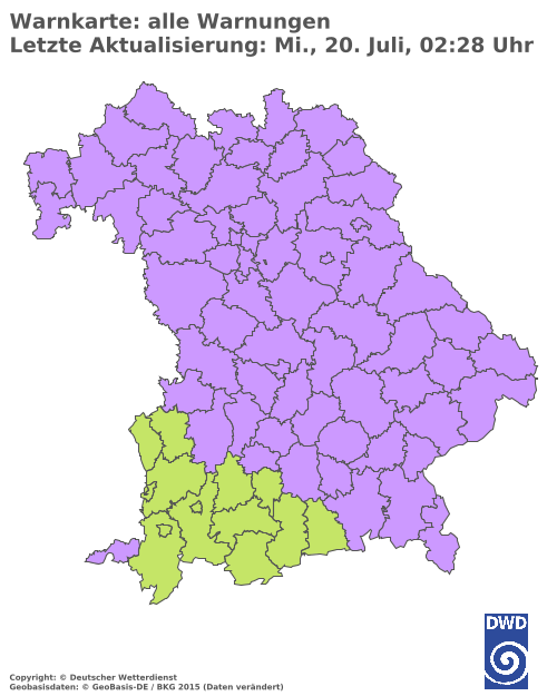 Aktuelle Wetterwarnungen für Dingolfing-Landau