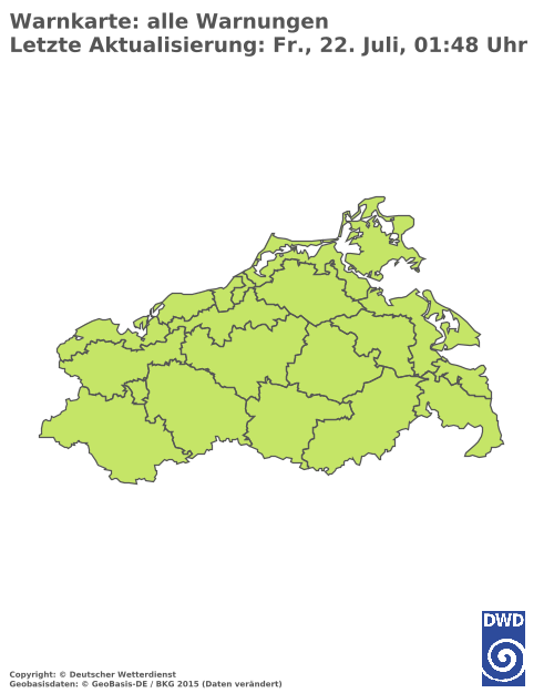 Aktuelle Wetterwarnungen für Vorpommern-Greifswald - Küste Süd