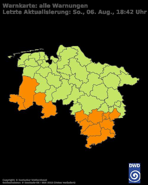 Aktuelle Wetterwarnungen für Wesermarsch - Binnenland