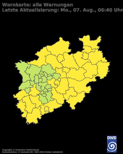 Aktuelle Wetterwarnungen für StädteRegion Aachen