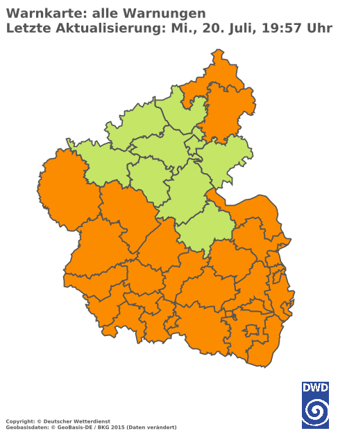 DWD Warnlage Rheinland-Pfalz