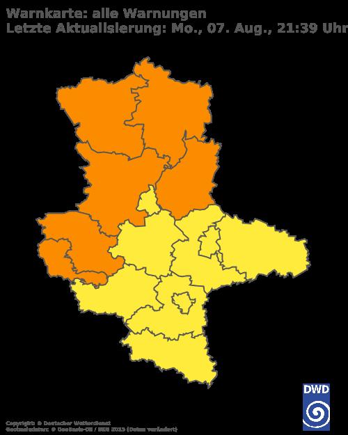 Aktuelle Wetterwarnungen für Harz - Tiefland