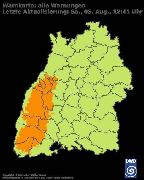 Warnkarte für Baden-Württemberg; Quelle: Deutscher Wetterdienst