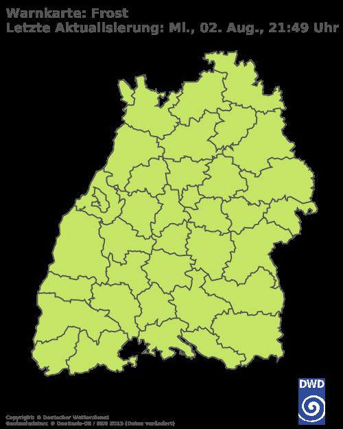 Frostwarnungen für Baden Württemberg