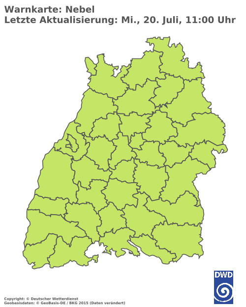 Nebelwarnungen für Baden Württemberg