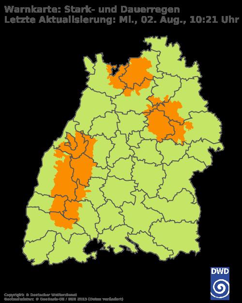 Stark - oder Dauerregen DWD Baden-Württemberg