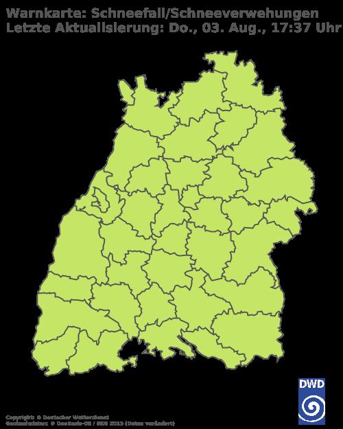 Schneefall & Schneeverwehungen für Baden Württemberg