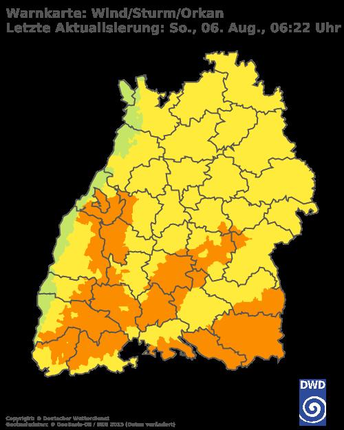 Sturmwarnungen für Baden Württemberg