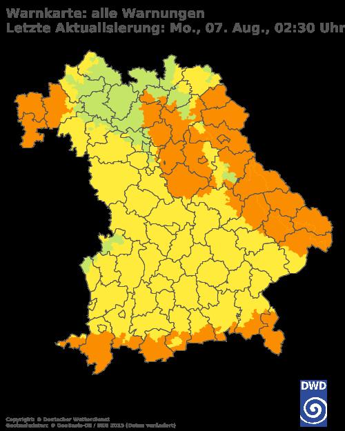 Warnfarben blau=Keine Warnungen gelb=Wetterwarnungen orange=Warnungen vor markantem Wetter rot=Unwetterwarnungen violett=Warnungen vor extremem Unwetter   Mit einem Klick auf die Karte kommen Sie zur Wetterwarnkarte Bayern beim DWD. © Deutscher Wetterdienst, Offenbach