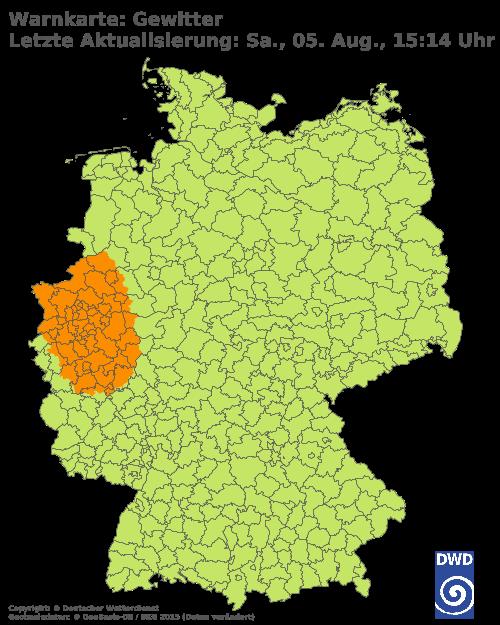 Aktuelle Gewitter-Warnungen für Deutschland