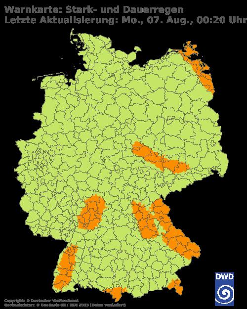Warnkarte Stark-/Dauerregen