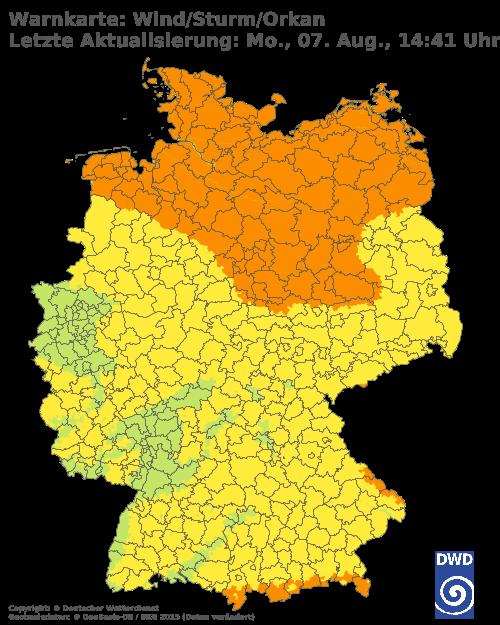 Deutscher Wetterdienst, aktuelle Warnkarte Wind