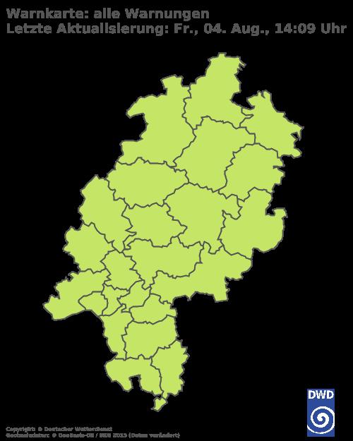 Amtliche Unwetterwarnungen des Deutschen Wetterdienstes (DWD) für Hessen