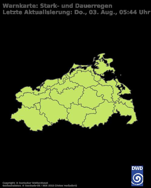 Starkregenwarnungen für Mecklenburg-Vorpommern