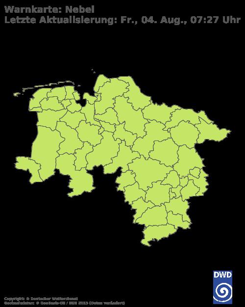 Nebelwarnungen für Niedersachsen