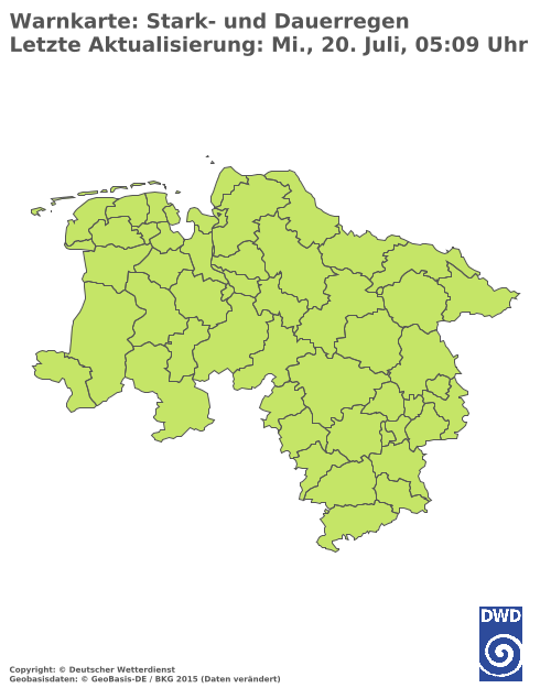 Starkregenwarnungen für Niedersachsen
