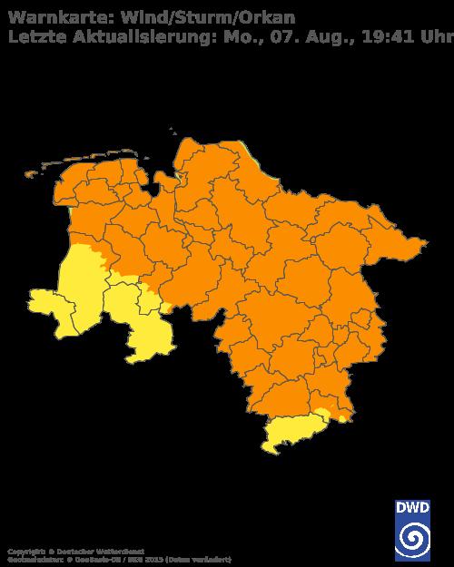 Sturmwarnungen für Niedersachsen