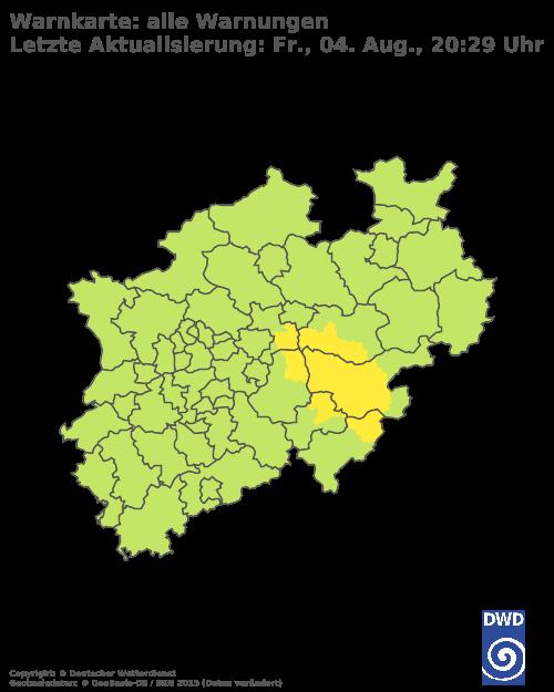 Warnfarben blau=Keine Warnungen gelb=Wetterwarnungen orange=Warnungen vor markantem Wetter rot=Unwetterwarnungen violett=Warnungen vor extremem Unwetter   Mit einem Klick auf die Karte kommen Sie zur Wetterwarnkarte Nordrhein-Westfalen beim DWD. © Deutscher Wetterdienst