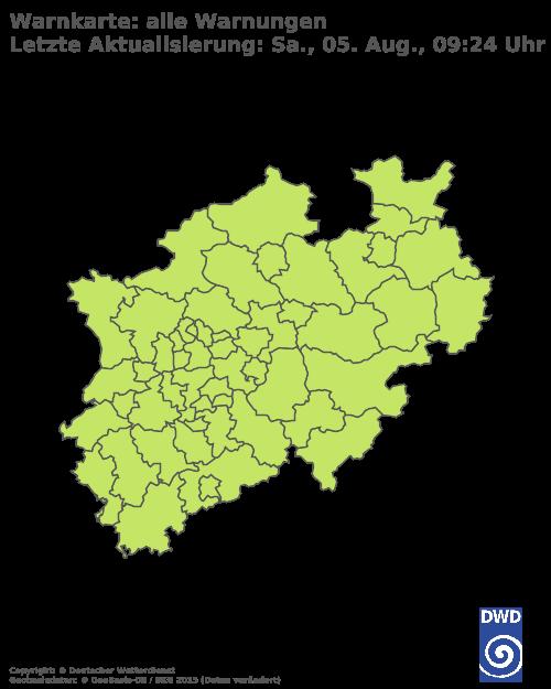 Unwetterkarte des Deutschen Wetterdienstes für Nordrhein Westfalen