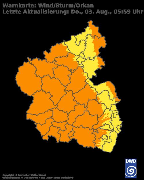 Sturmwarnungen für Rheinland Pfalz