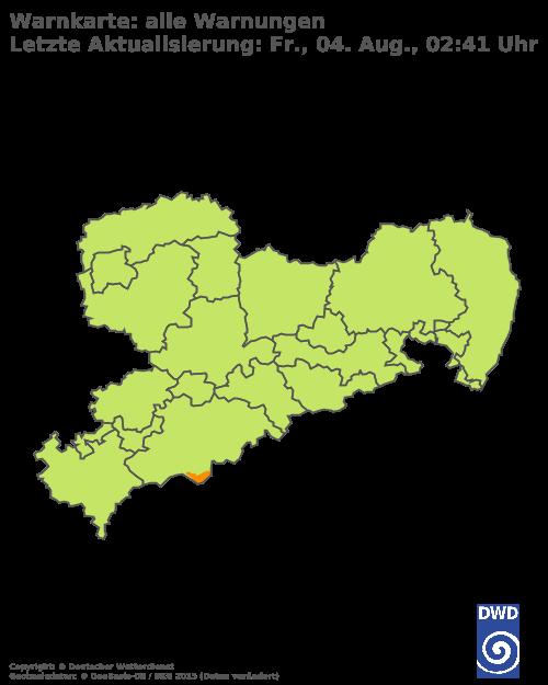 Warnlage Freistaat Sachsen