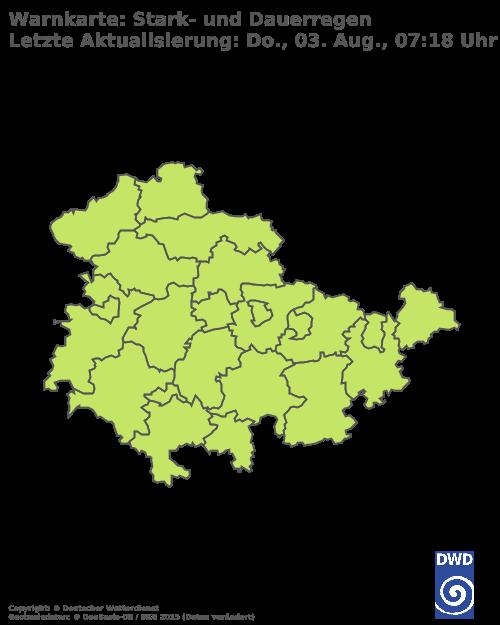Warnkarte Stark- und Dauerregen Thüringen