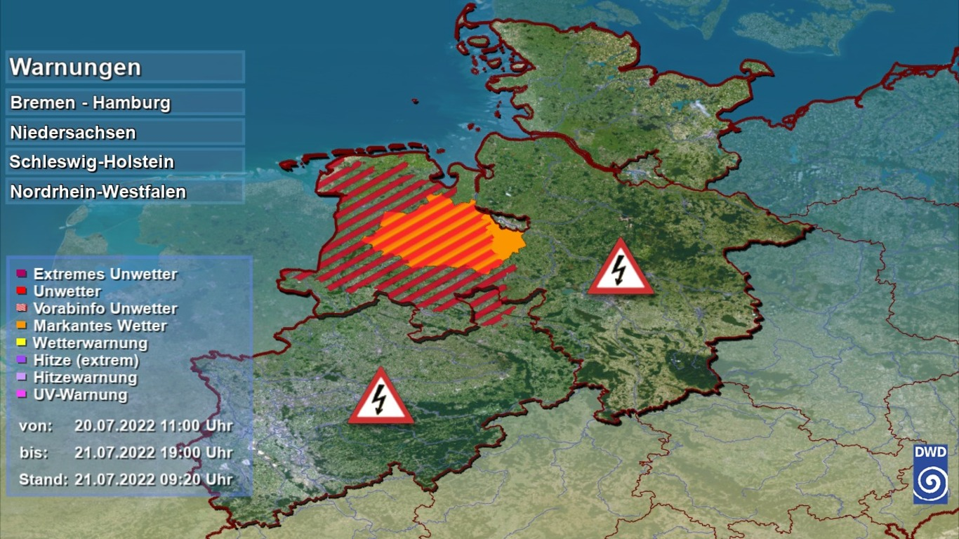 Unwetter Sturmwarnung Unwetter für Niedersachsen und Bremen