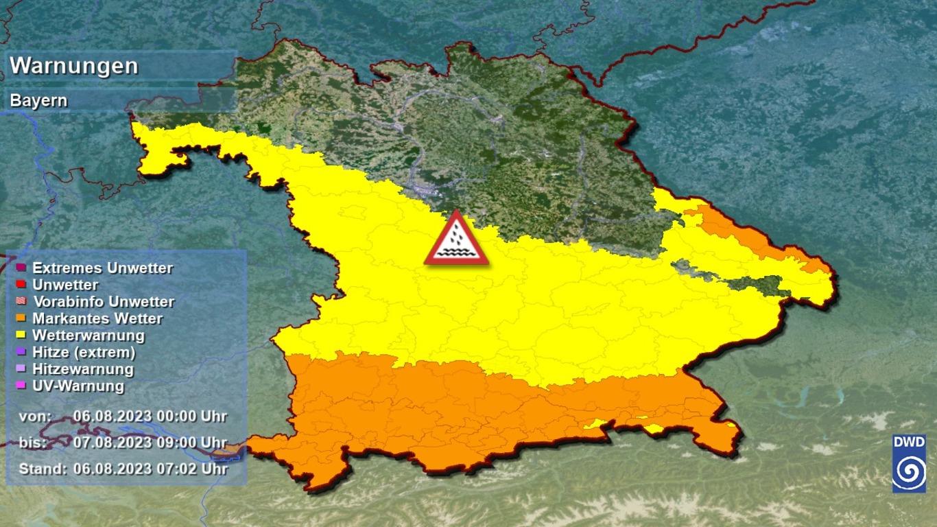 Unwetterwarnungen des DWD für Bayern